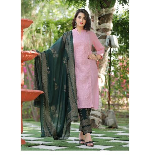 Beautiful Rayon Sulb Fabric Printed With Heavy Sequence work Kurti And Heavy Printed Pant & Dupatta
