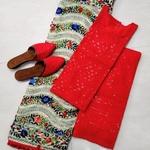Pompom Dupatta With Ready To Wear Top Bottom, Jutti 😊