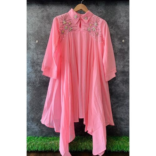 Imported stuff Present decent hand embroidery high low style western dress cum tunic.