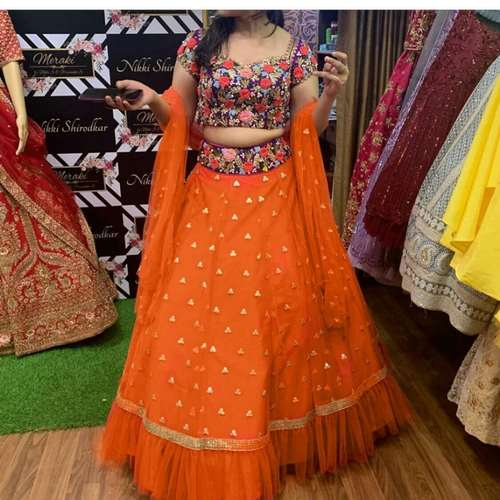 NEW DESIGNER PARTY WEAREMBROIDERY WORK LEHENGAS WITH WORK CHOLI AND DUPATTA