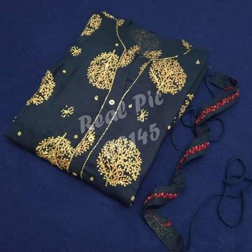 💃*Beautiful Gold Printed Long Stylish Kurti with Detachable Belt*💃
