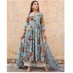 DESIGNER NEW BEAUTIFUL PRINTED GEORGETTE SALWAR SUIT AND FANCY NECK STYLE WITH FANCY RAYON PLAZZO