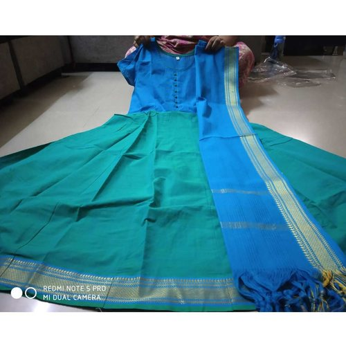 Southcotton with mangalagiri border anarkali top with duppatta