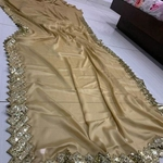 Heavy chinon silk saree with sequence border work   👉 Soft cotton blouse ( unstich )  Ready to ship 👍