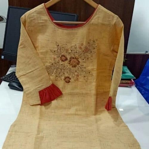 KURTI FABRIC RAYON  TWO TONE SLAB WITH FANCY HANDWORK AND NEW PATTERNS More options availabe kindly whatsaap us for designs and colors.