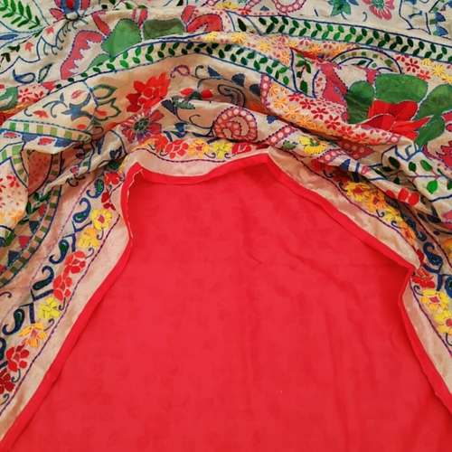 CHANDERI HANDICRAFT DUPATTA WITH FABRIC