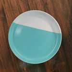 8 inch light blue and white porcelain plate.