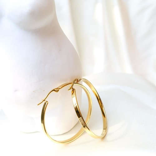 A pair of petite gold hoop earrings.