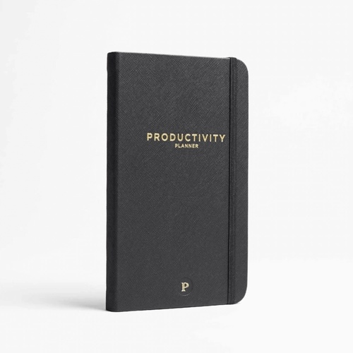 A black hardcover journal with the words Productivity Planner in gold. The journal has an attached rubber strap.