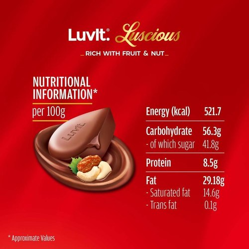 LuvIt Luscious Fruit and Nut Delectable Chocolate Bar Multipack, 100 Delicious, 440g  Pack of 10