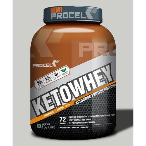 MastMart PROCEL KETOWHEY Whey Isolate Protein Powder with Ketofuel - 3kg Mango lassi