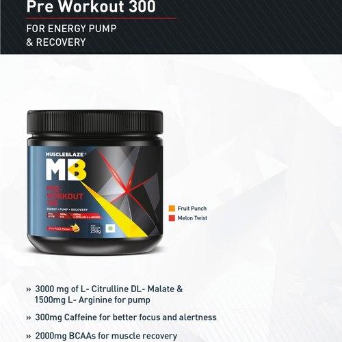 MastMart MuscleBlaze PRE Workout 300, 0.25 Kg Fruit Punch