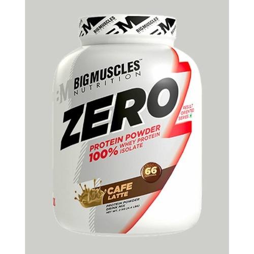 MastMart Bigmuscles Nutrition ZERO Protein Powder from 100 Whey Isolate Caffe Latte 4.4 lbs