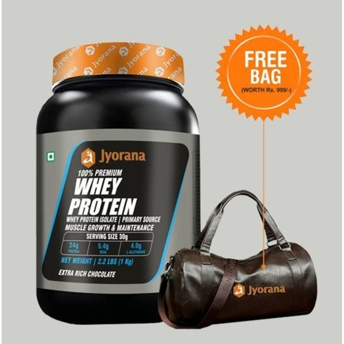 WellnessMart Jyorana 100 premium Whey protein with Isolate Extra Rich Chocolate Flavor with Free Sports Bag - 1 Kg
