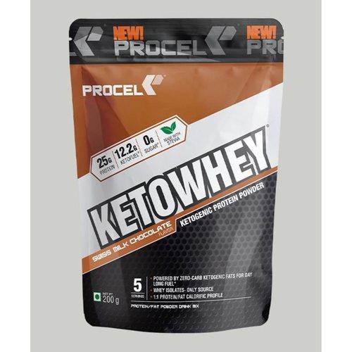 MastMart PROCEL KETOWHEY Ketogenic Protein Powder with Ketofuel200g -Trail Pack  Swiss Milk Chocolate