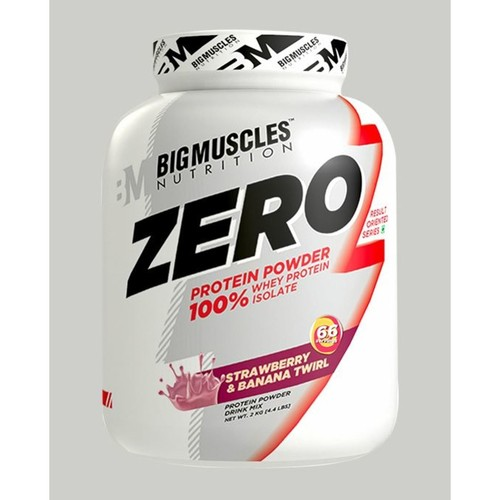 MastMart Bigmuscles Nutrition ZERO Protein Powder from 100 Whey Isolate Strawberry & Banana Twirl 4.4 lbs