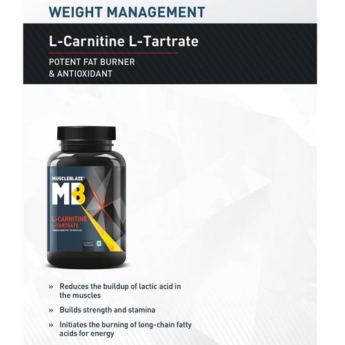 MastMart MuscleBlaze L-Carnitine L-Tartrate, 120 capsules Unflavoured