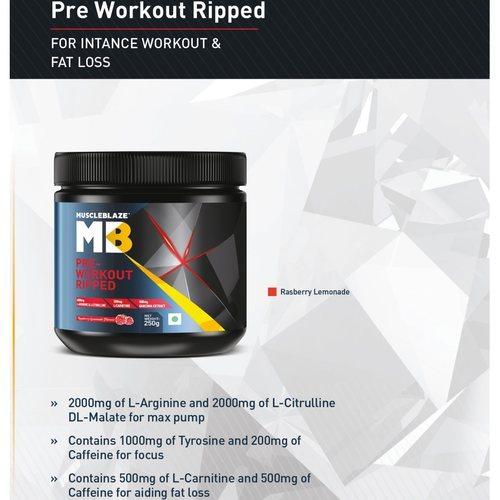 MastMart MuscleBlaze PRE Workout Ripped, 0.25 Kg Raspberry Lemonade