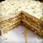 ALMOND CAKE WITH WHITE CHOCOLATE ORANGELEMON MERINGUE ICING 500 g Only available for pickups