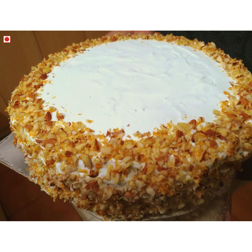 ALMOND CAKE WITH WHITE CHOCOLATE ORANGE/LEMON MERINGUE ICING (500 g) [Only available for pickups]