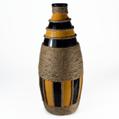 Chrome yellow-black coloured bottle with rope