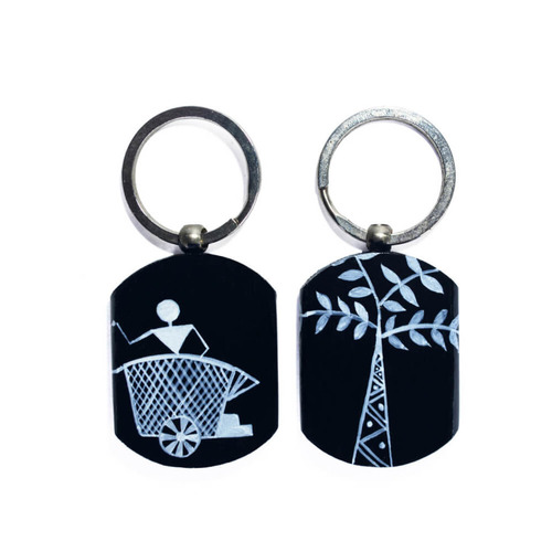 Black and white warli art keychain set