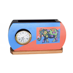 Multiple use pen stand with watch and beautiful elephant drawing