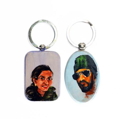 Customized portrait keychain set