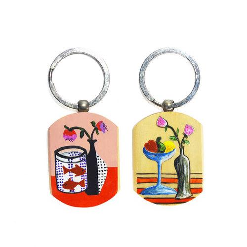 Keychain set with flower pot design work